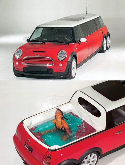 Stretched Mini Cooper Limo: Coup with a Swimming pool