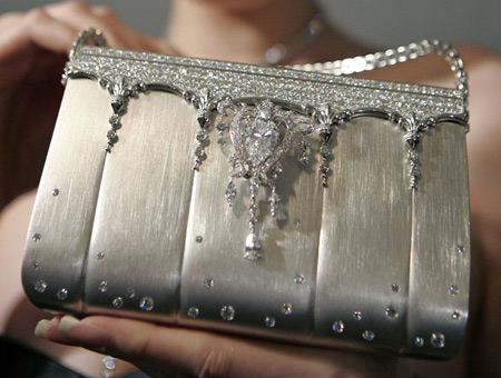 Diamond studded platinum handbag