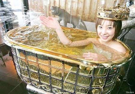 Golden bath tub