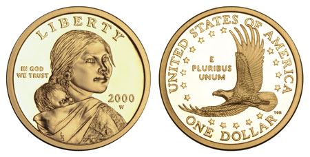 22-karat gold versions of the Sacagawea Golden Dollar