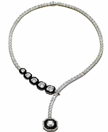 necklacecharity 75 Carat Royal Asscher Diamond Platinum Necklace for $1.8 mn