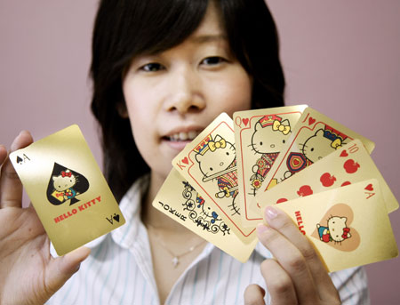 Hello Kitty Playing Cards with 0.73g Pure Gold
