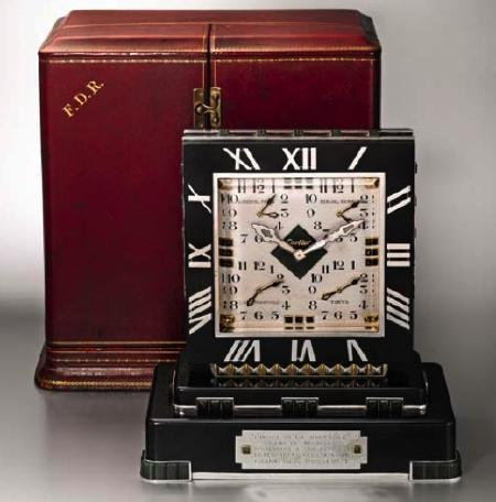 Franklin Delano Roosevelt's Cartier Clock Set for Auction