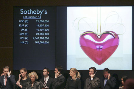 Living Artist Sets Auction Record: Jeff Koons' 'Hanging Heart' Sold for $23.6 mn