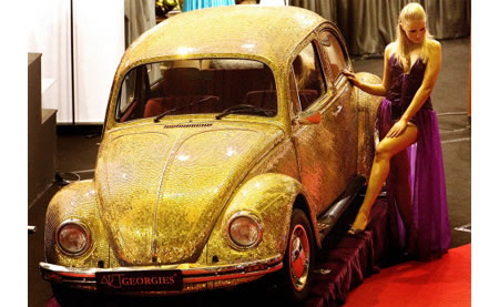 Volkswagen Beetle Bathed in Pure Gold