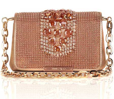 Jimmy Choo, clutch, peach, Swarovski crystals, Elite Handbag, Crystals, Designer, Handbags | Elite Choice :  gold metallic crystal evening