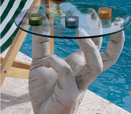 Sculptural Table with Glass Top