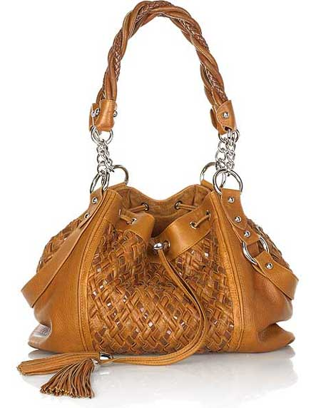 Woven Leather Drawstring Bag