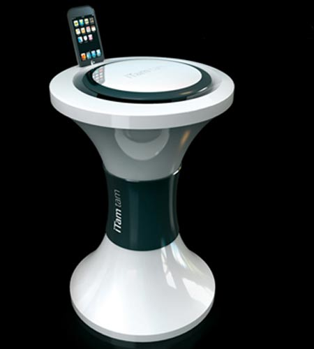 Eric Berthès Designs Hi-Tech iTam Tam Stool: Docks Your iPod + iPhone