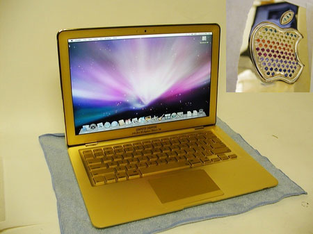 Gold MacBook Air Blessed Via Bejeweled Rainbow Apple