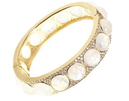 Irene Neuwirth Diamond Encrusted Moonstone Bangle