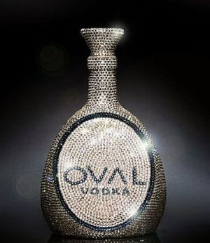 OVAL Swarovski Crystal Vodka bottle