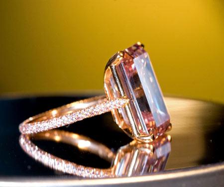 rectangular-cut pink diamond ring