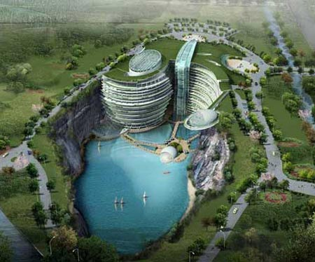 Songjiang Hotel, Positioned Within Gorgeous Water-Filled Mine