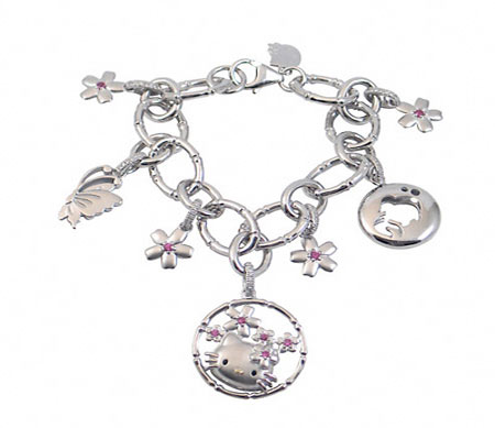 Peppy Hello Kitty Diamond Charm Bracelet Hello Kitty , Bracelet, Diamond , sterling silver , 'Vogue'