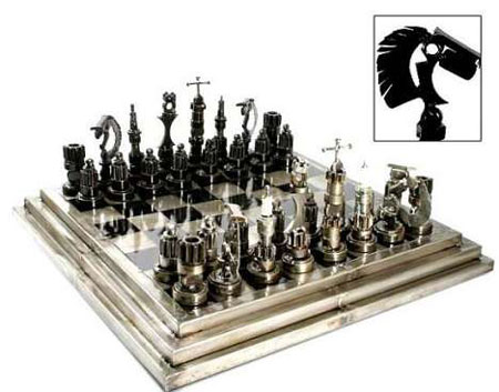 Green Chess Set by Armando Ramirez, Courtesy Recycled Auto Parts