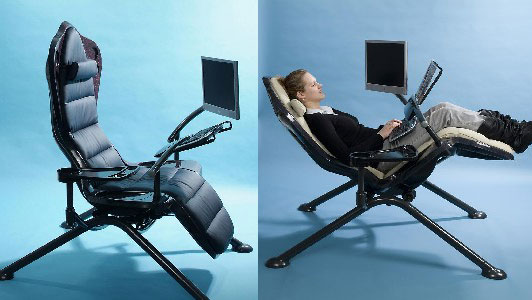 Zero-Gee Workstation Augments Napping Whilst At Work! Zero-Gee Workstation, comfort, design, workstation, Zero-Gee, Ergonomic workstation, sleeping workstation, designer, furniture