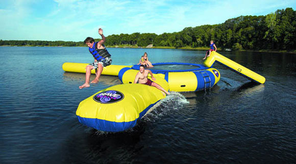 Floating Inflatable Trampoline Takes Water Slide to a New Level!