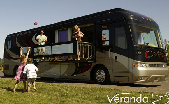 verandacoach Verdanas Motor Home Flaunts a Motorized Private Balcony
