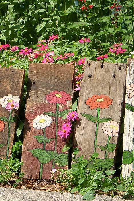 Bring in the zinnia garden inside your home for Garden fence artwork