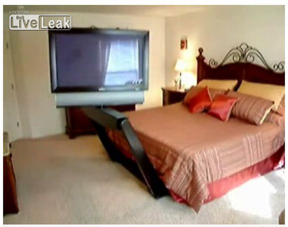 Flat Screen TV Springs to life from underneath your bed!