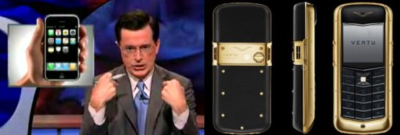 stephen vertu Economic Humor: Stephen Colbert replaces his Vertu with iPhone for the sake of Economy!