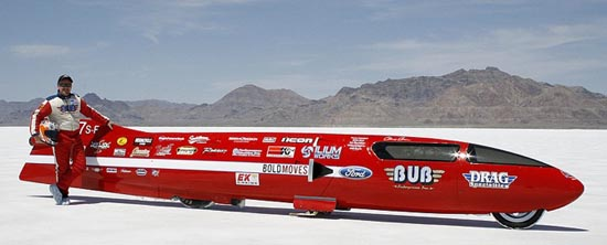 Denis Manning with Bub Seven Streamliner