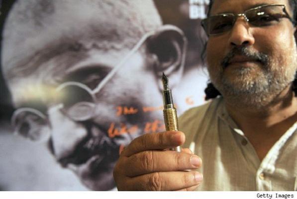 Tushar with Montblanc Gandhi pen