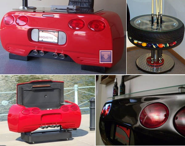 Corvette car desk and bar for car lovers elite choice for Furniture made from cars