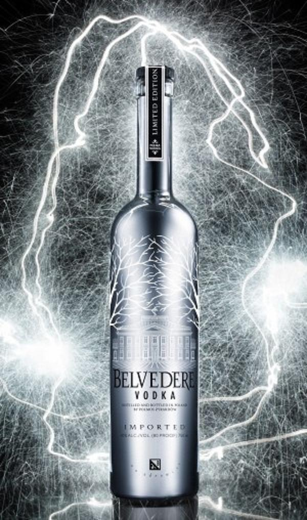 belvedere silver vodka bottle