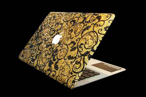 MJ Notebook Swarovski Edition MacAir MJ's Swarovski and Diamond Studded Notebook, Gold Mouse, Stun