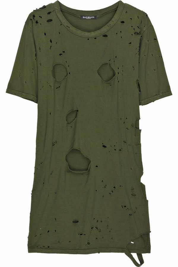 Balmain slashed army T-shirts