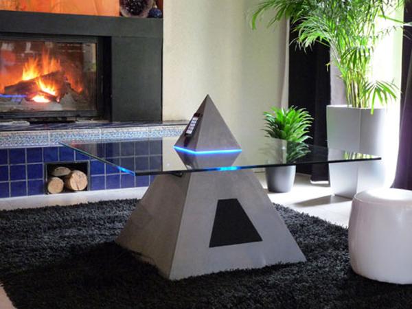 Pyramid shaped multimedia table