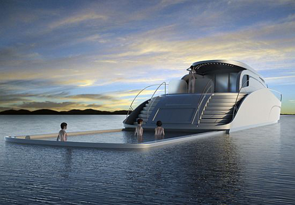 The Atreides concept yacht with retractable pool