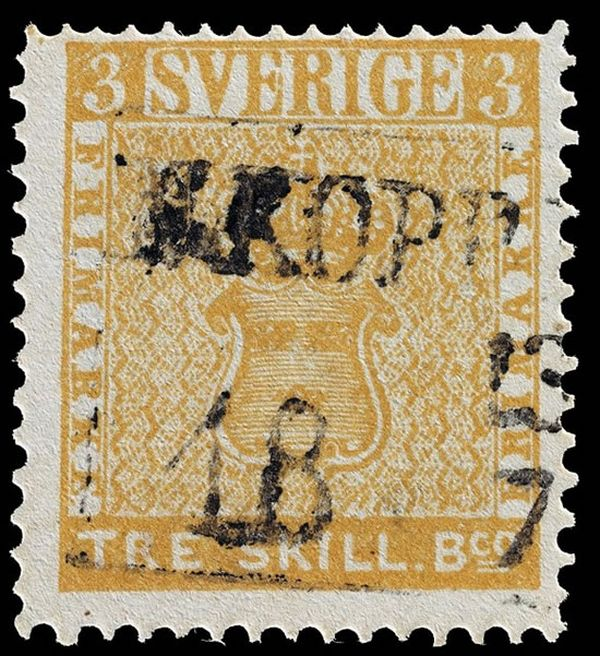 1855 Treskilling Yellow Swedish stamp