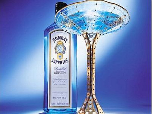 bombay sapphire precious cocktail glass auction