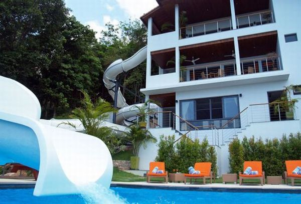 luxury villa with water slide