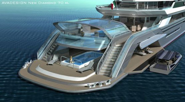 new diamond3 The Green Diamond: Avadesign's Luxury Yacht For the Nautical Crew