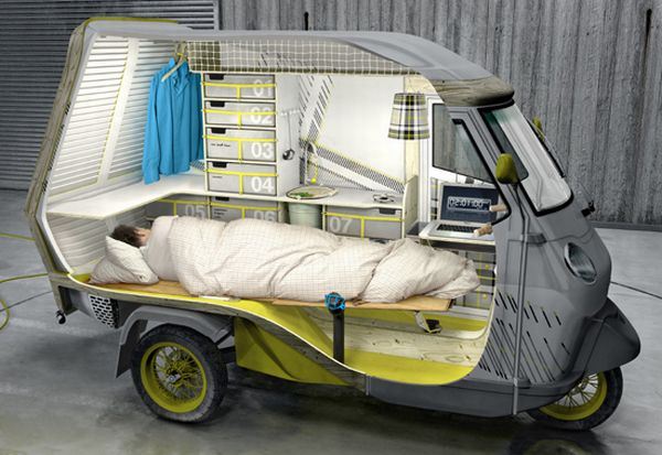 three wheeled camper vehicle
