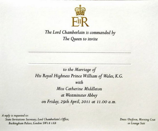 william kate invite Prince William And Kate Middletons Wedding Invites Sent Out