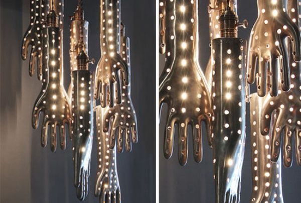 handelier luxury lights Voila Studio Drops C from Chandelier to Launch Hand Shaped Lighting Collection