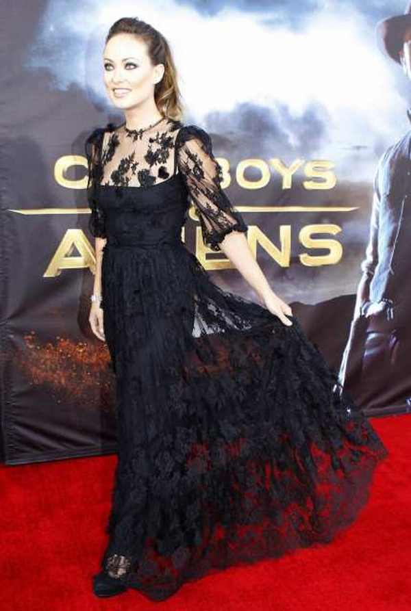 "Actress Olivia Wilde arrives for the world premiere of Universal Pictures motion picture ""Cowboys & Aliens"" in California"
