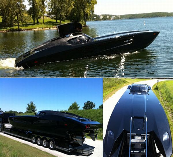 Corvette inspired powerboat