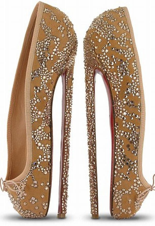 christian louboutin 8 inch heels ballet pumps Christian Louboutins Ballerina Pumps With 8 Inch Heels! Not to be Worn Obviously