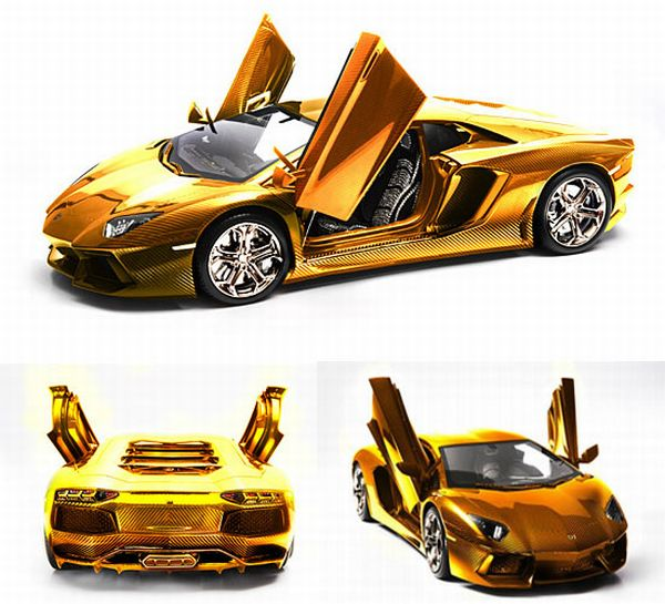 Golden Version Of Lamborghini Aventador Model Car Costs 12 Times The