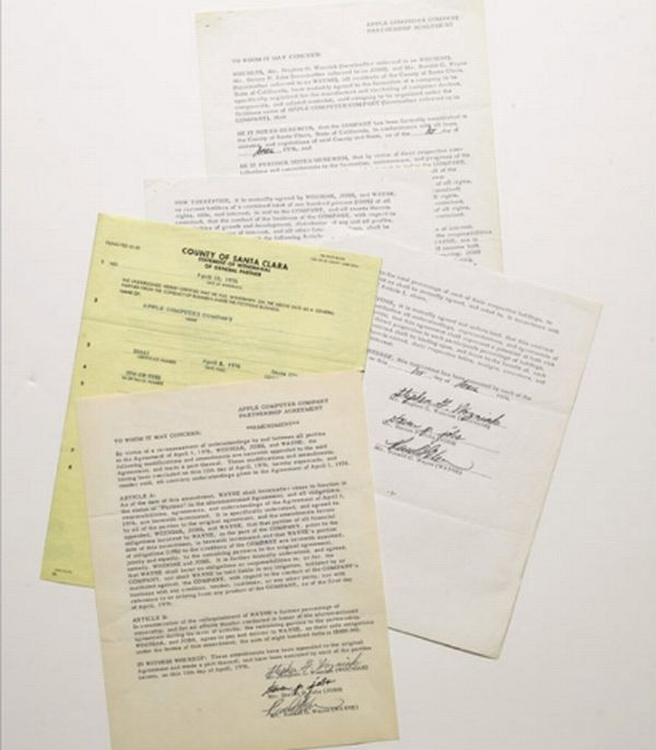 apple contract papers for auction