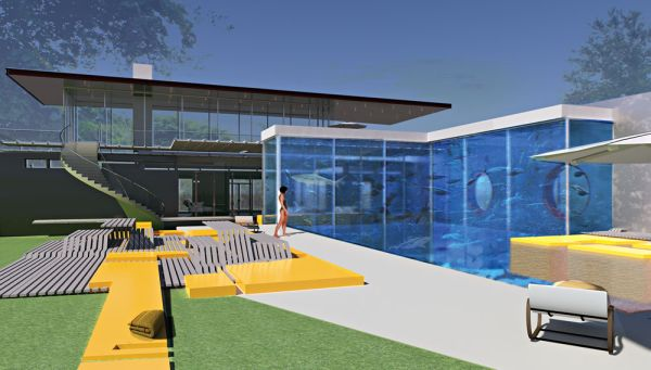 Swimming Pool with aquarium
