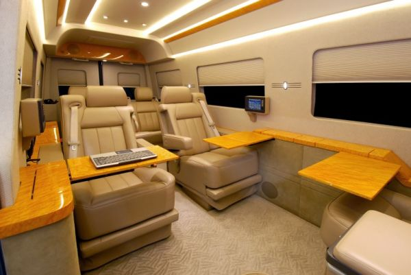 Private jet interiors replicated in mercedes benz sprinter for Mercedes benz sprinter luxury van
