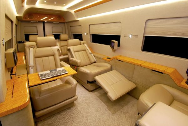 private jet interiors replicated in mercedes benz sprinter van elite choice. Black Bedroom Furniture Sets. Home Design Ideas