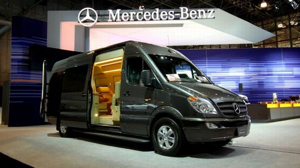Private jet interiors replicated in mercedes benz sprinter for Mercedes benz conversion van price